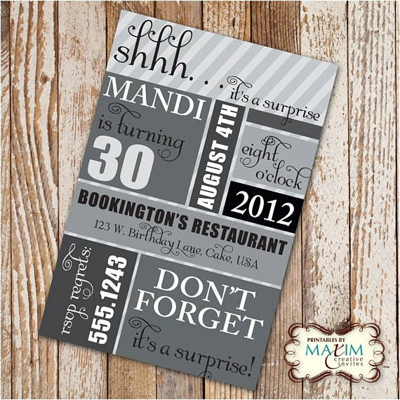 diy printable invitation surprise