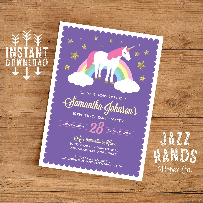 unicorn birthday invitation template diy