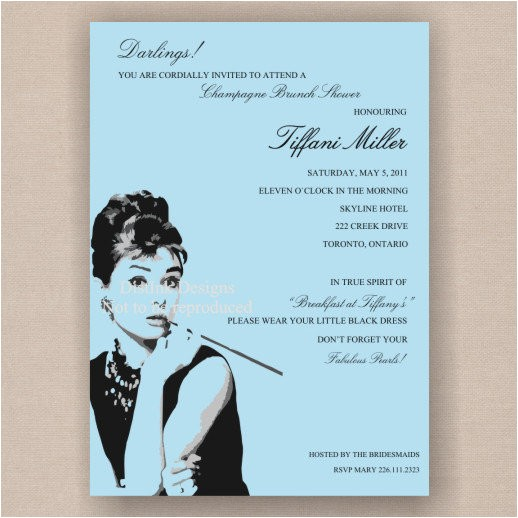 breakfast at tiffany s bridal shower print it yourself diy invitation