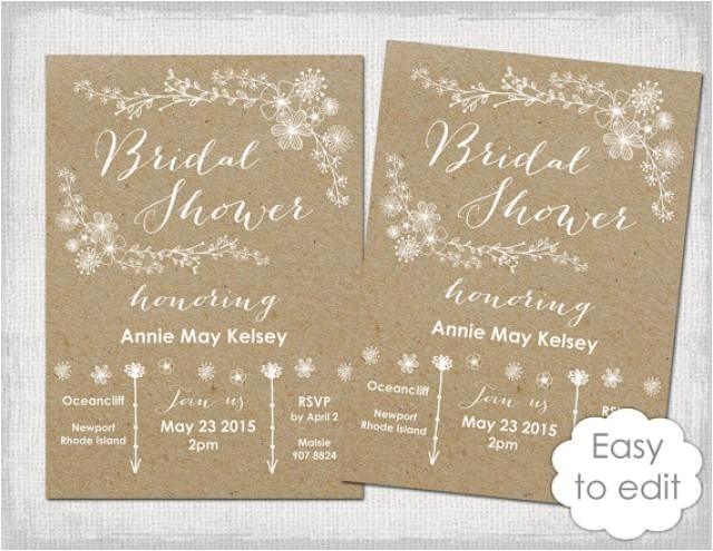bridal shower invitation template rustic printable templates diy quotwhimsical kraftquot wedding shower invitations you edit word instant