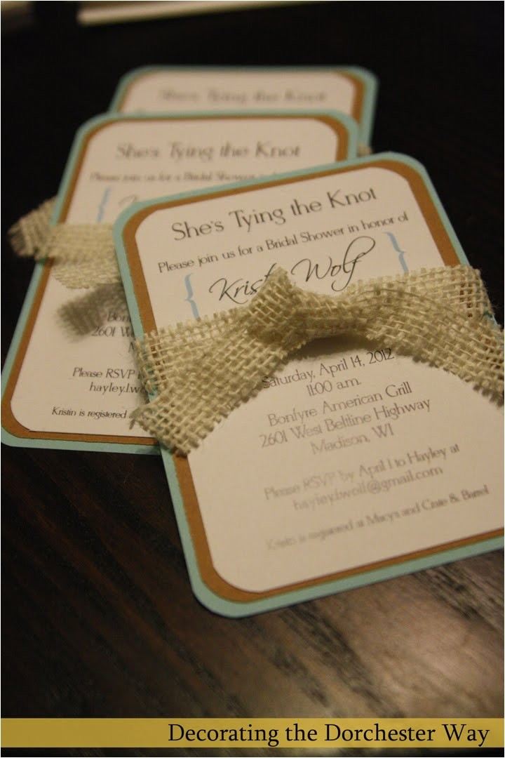 diy burlap wedding shower invite