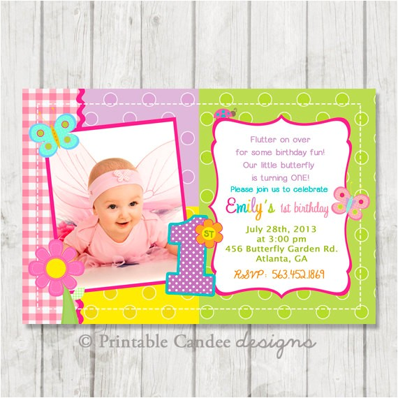 butterfly 1st birthday invitation diy