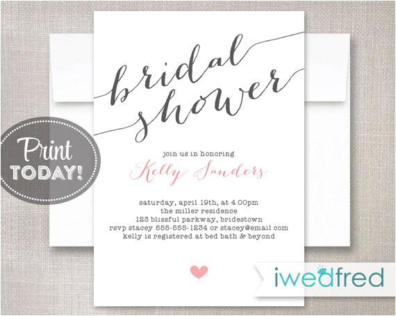 bridal shower invitation bridal shower invitation printable bridal shower invitation diy invitation invitation template br025