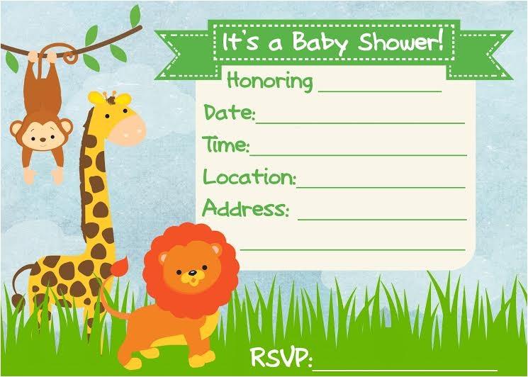 baby shower invitation jungle theme