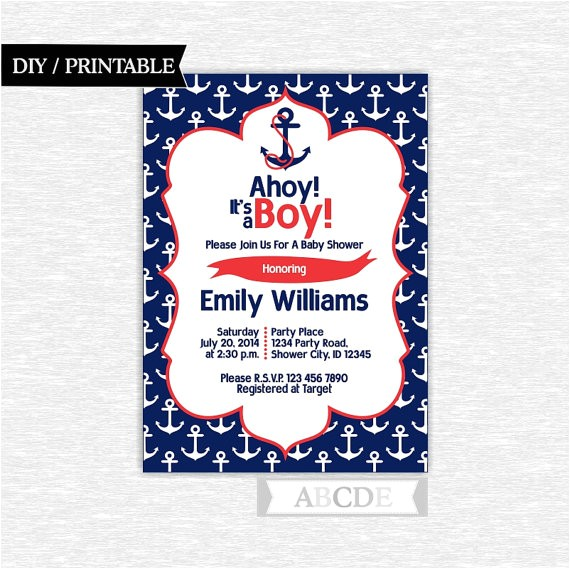 baby shower invitation 5x7 nautical baby