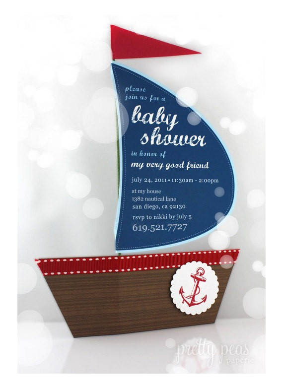 Diy Nautical Baby Shower Invitations Items Similar to Diy Nautical Baby Shower Invitation