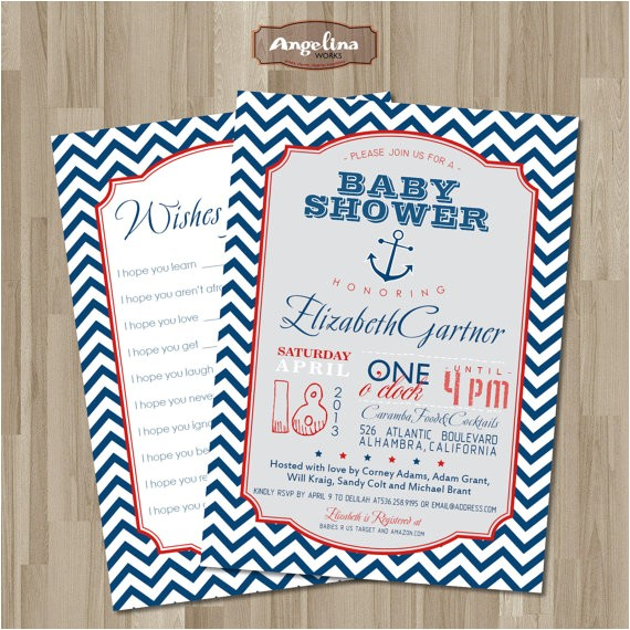 nautical baby shower invitation diy card