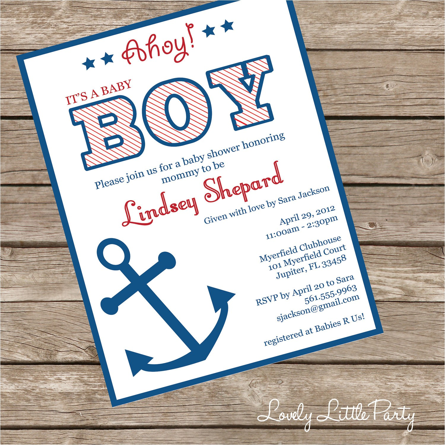 printable or printed nautical baby