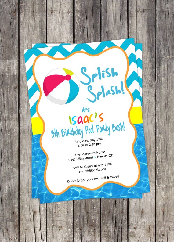 beach ball pool party invitation diy