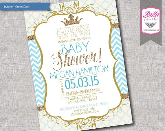 baby shower invitation prince crown for