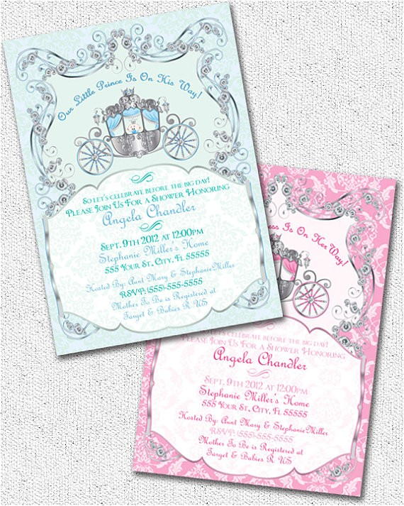 princeprincess baby shower invitation