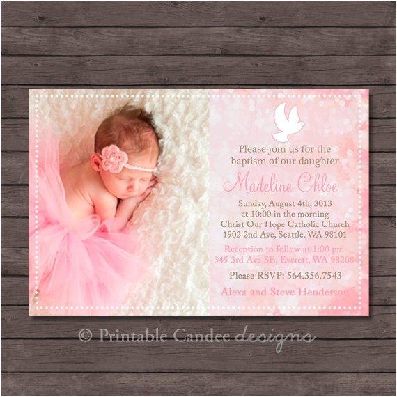 dove baptism or christening invitation