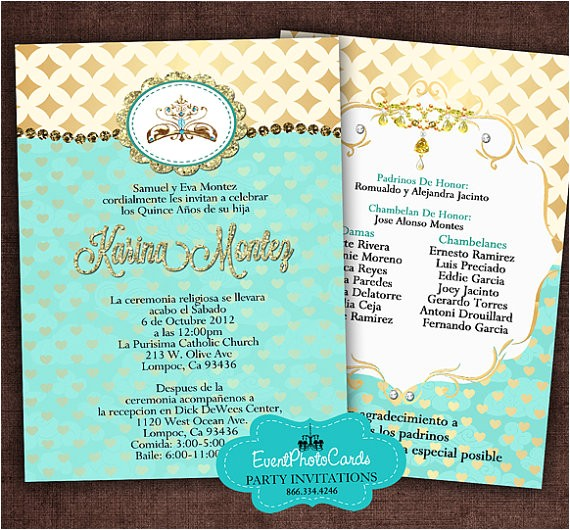 gold and teal quinceanera invitation set