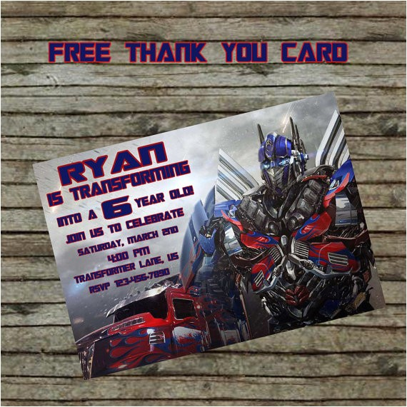 transformer birthday invitation diy