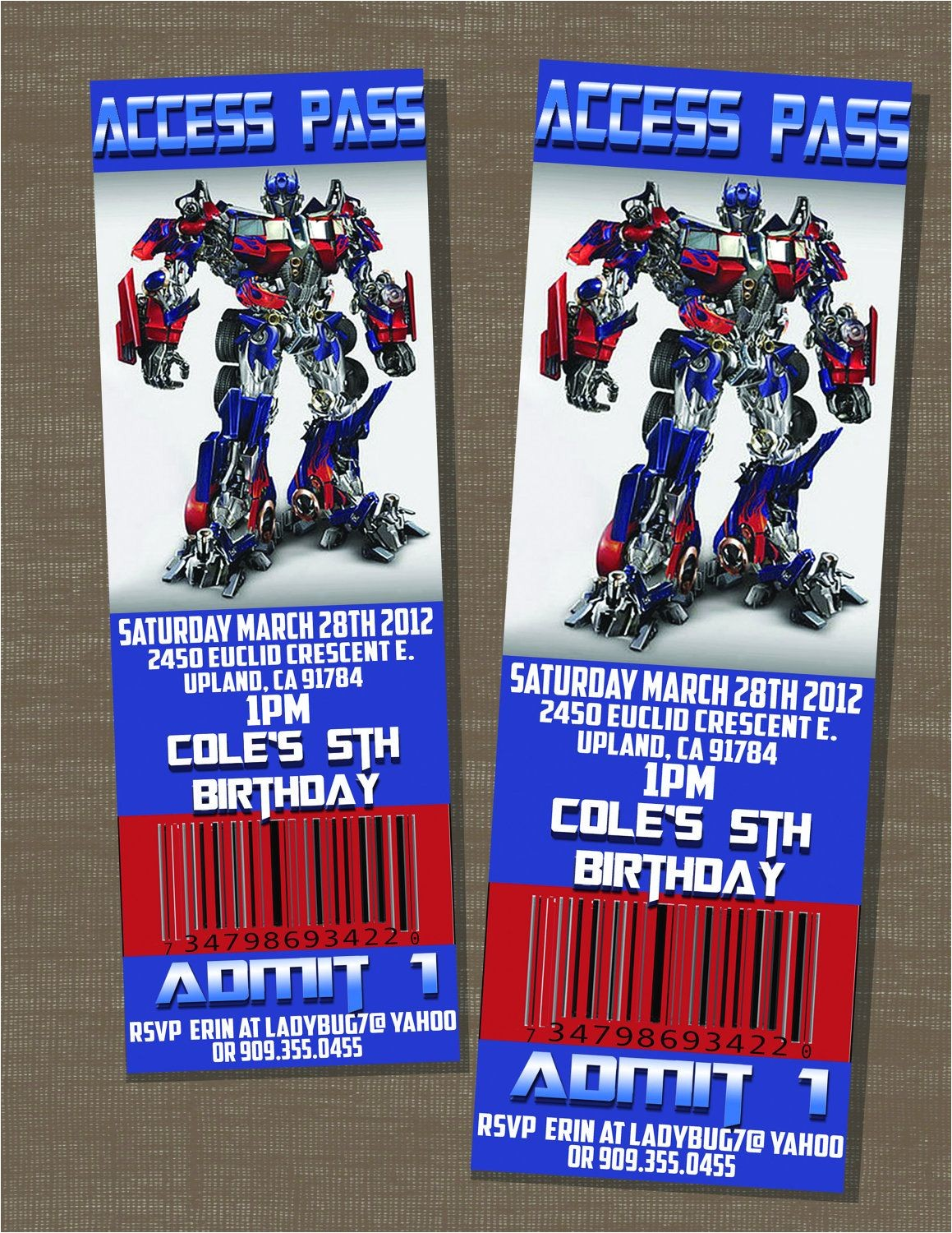 Diy Transformer Birthday Invitations Transformers Birthday Optimus Prime Ticket Invite $10 00