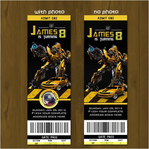 transformers bumblebee ticket birthday invite