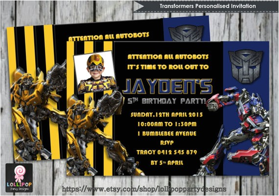 transformers invitation personalised