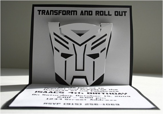 transformers pop up invitations