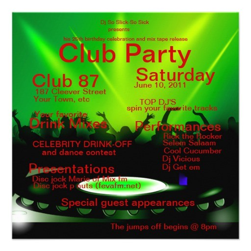 club dj party invitation