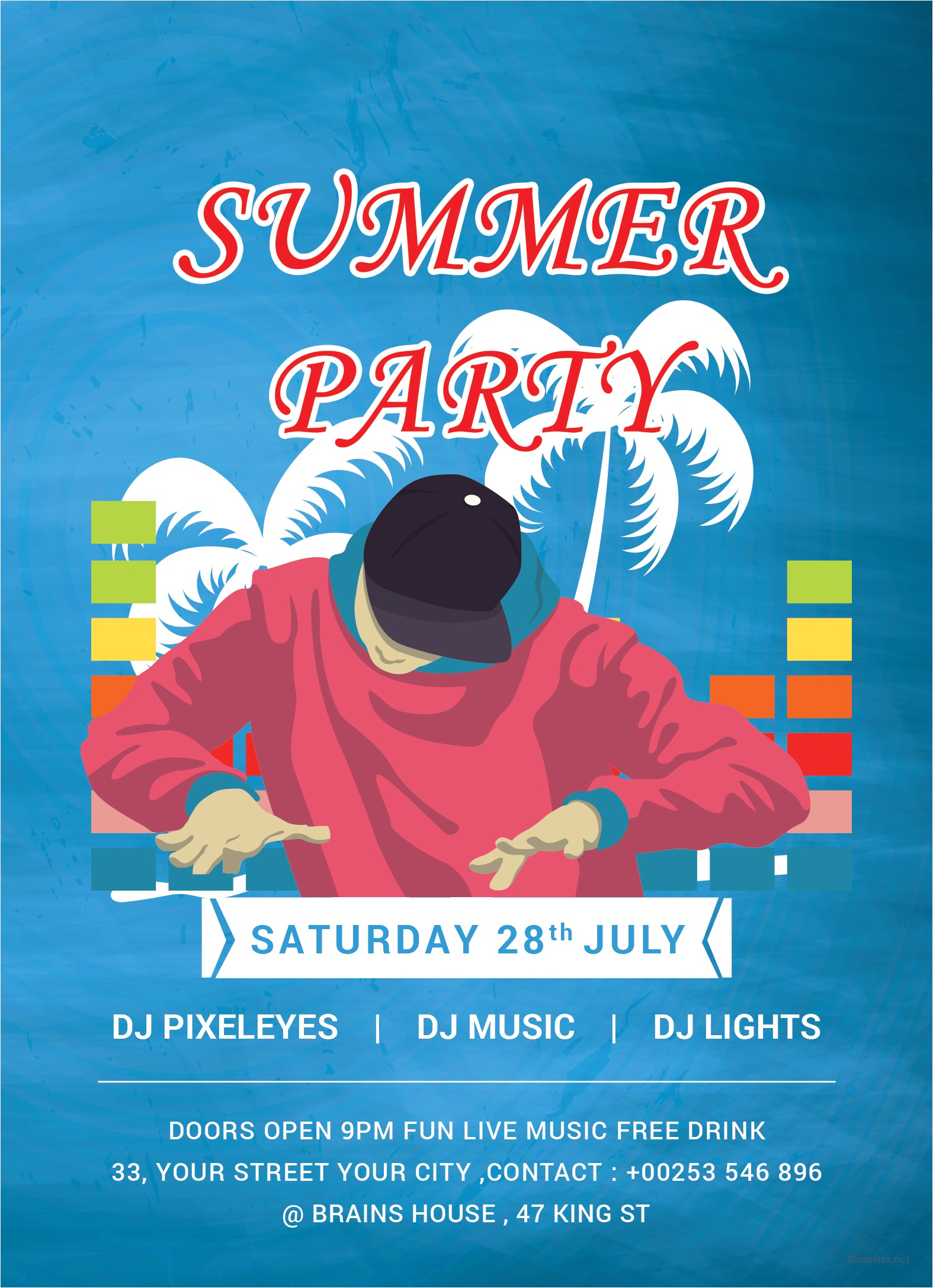 free dj summer party invitation