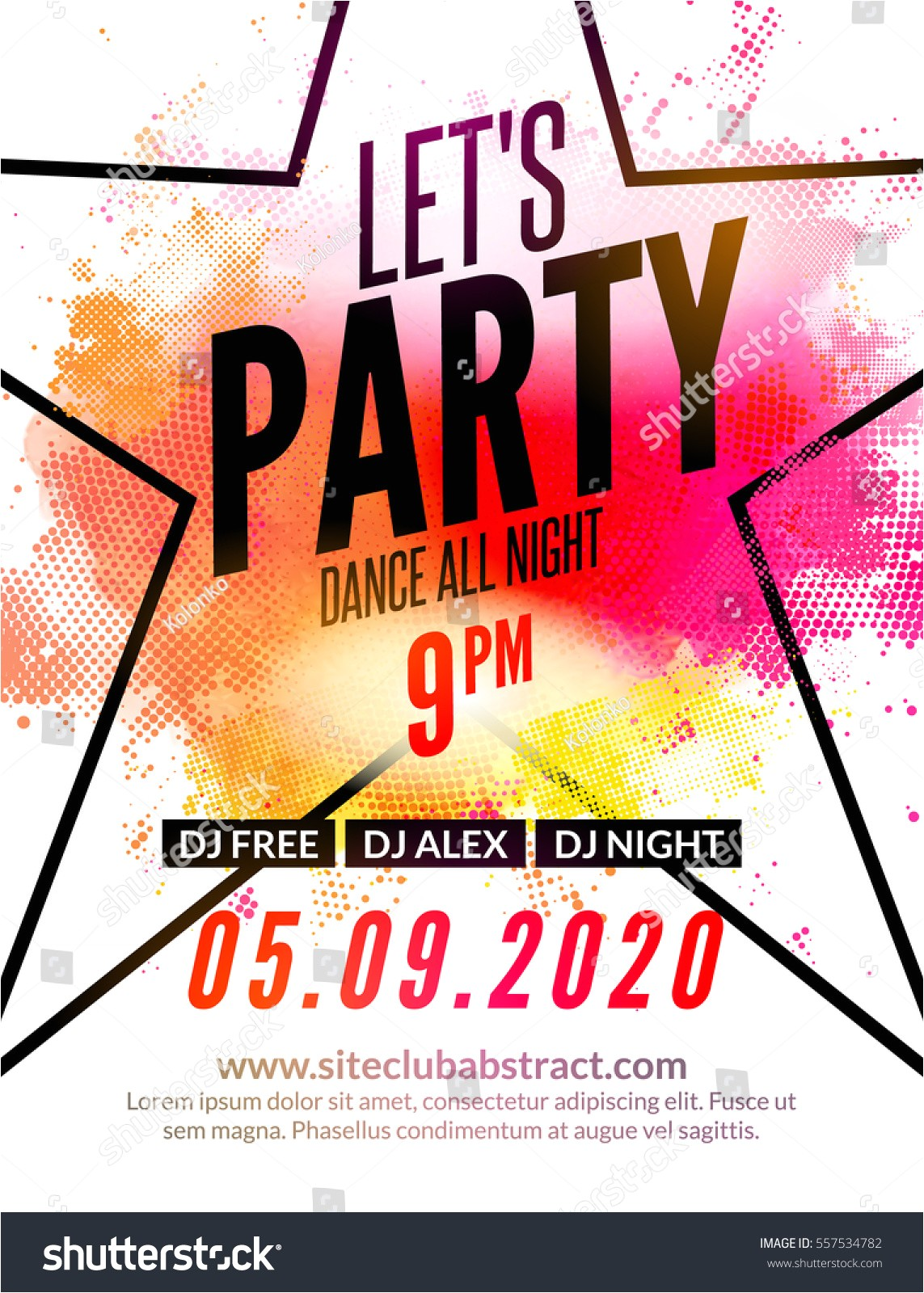 lets party design poster night club