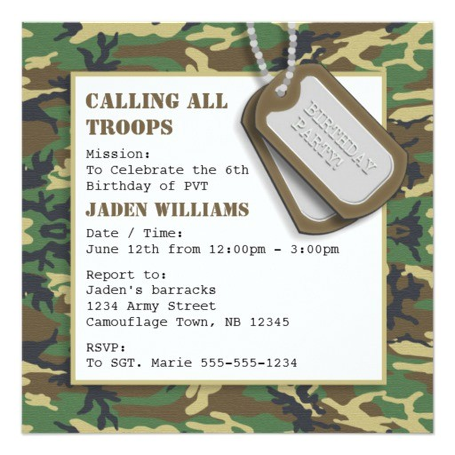 camouflage camo birthday party with dog tags invitation