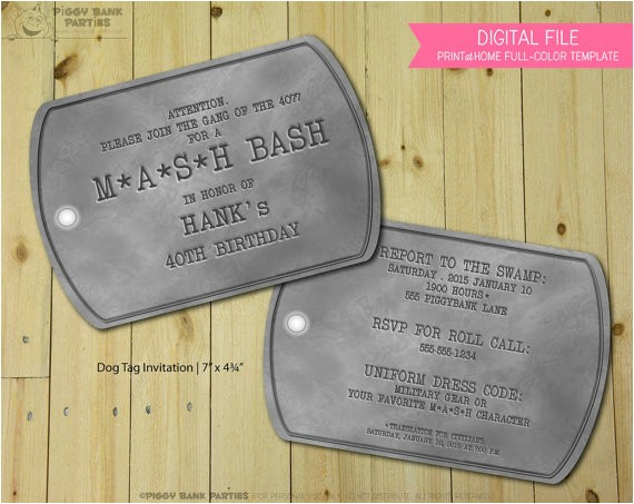 dog tag invitation print at home