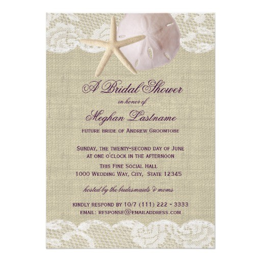 lace and sand dollar beach bridal shower invitation