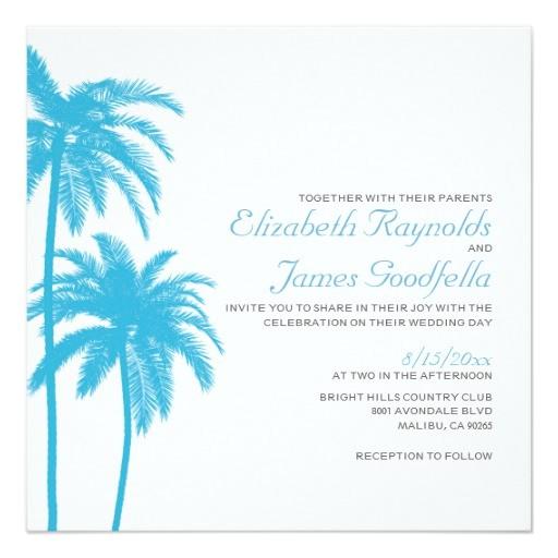 palm tree beach wedding invitations