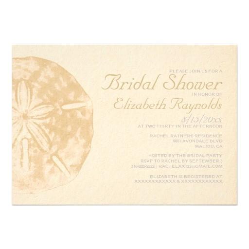 vintage beach sand dollar bridal shower invitation