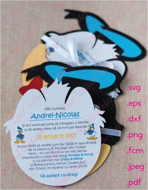donald duck head invitation cut file