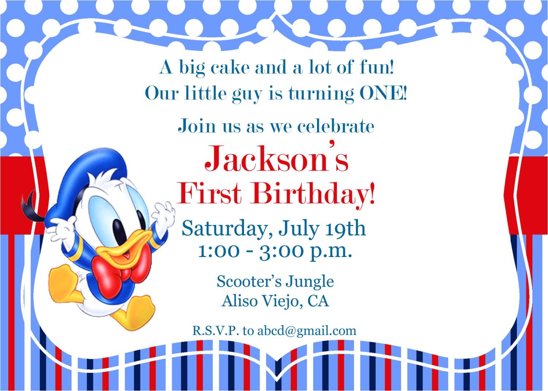 donald duck invitation 1st birthday