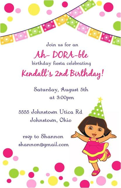 dora birthday invitation