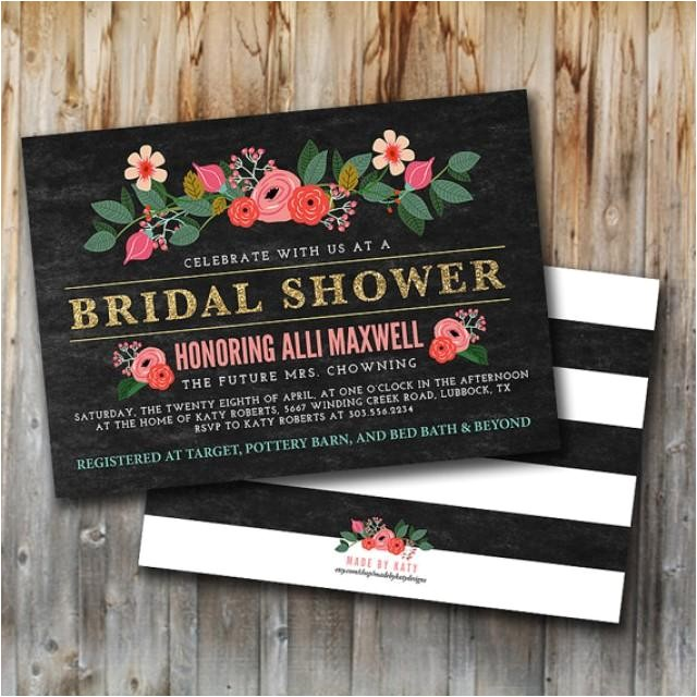 glitter and floral bridal shower invitation double sided lingerie shower bride to be wedding shower pink gold