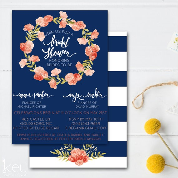 joint bridal shower invitation double