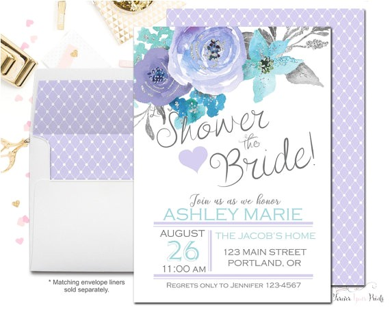lavender bridal shower invitations floral bridal