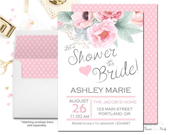 pink gray shower bride invitations floral
