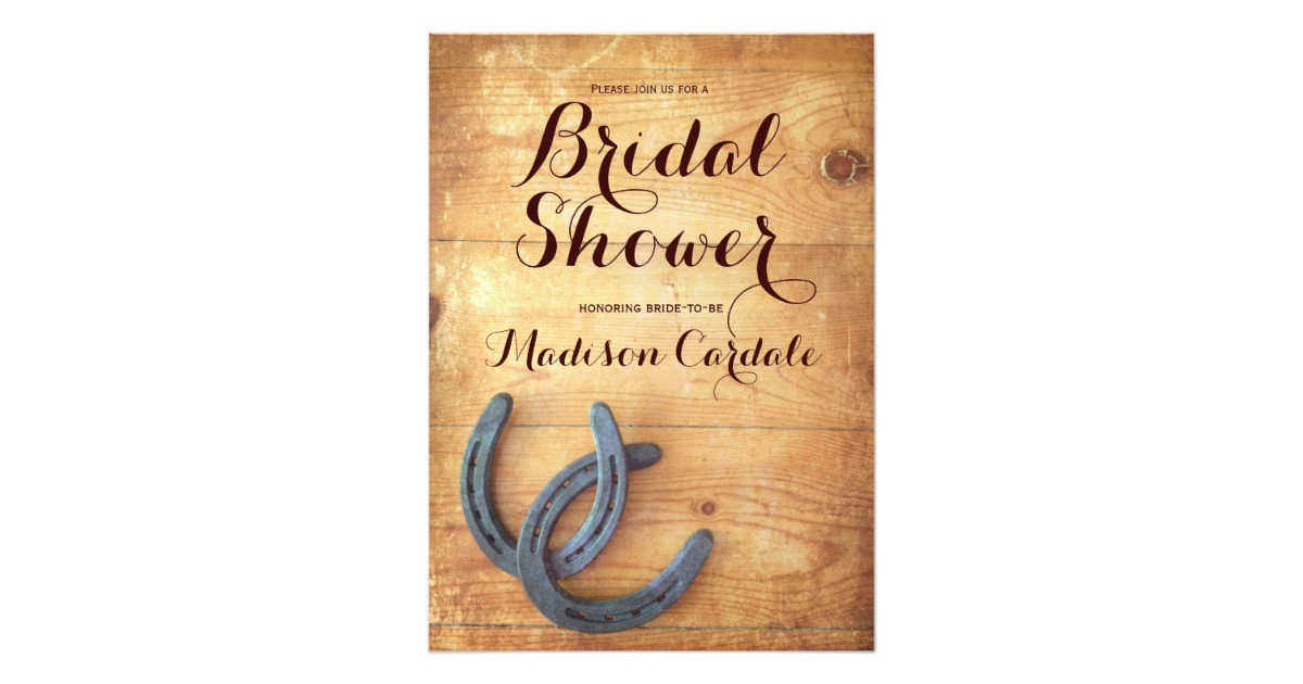 rustic double horseshoes bridal shower invitations