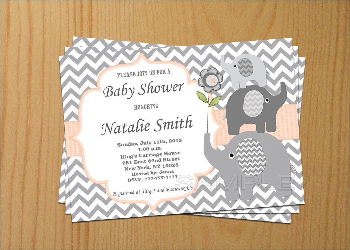 editable baby shower invitation elephant