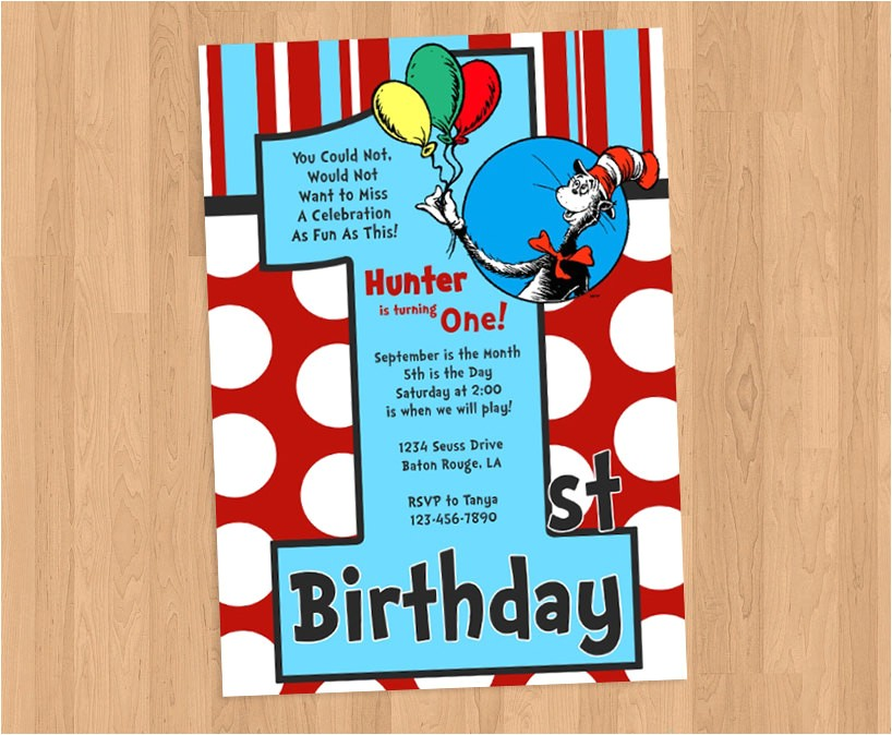 dr seuss 1st birthday invitation diy