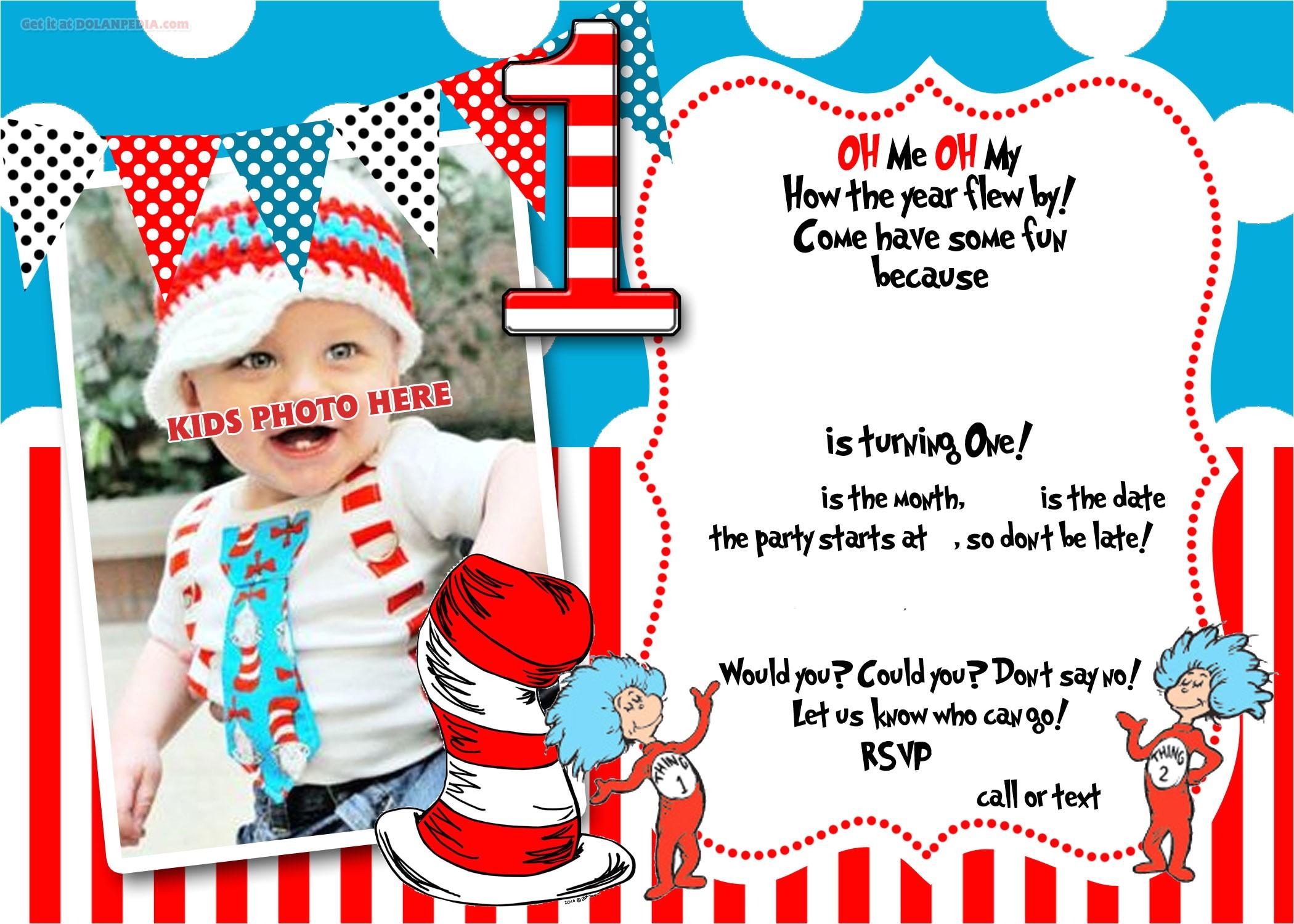 dr seuss 1st birthday invitation template