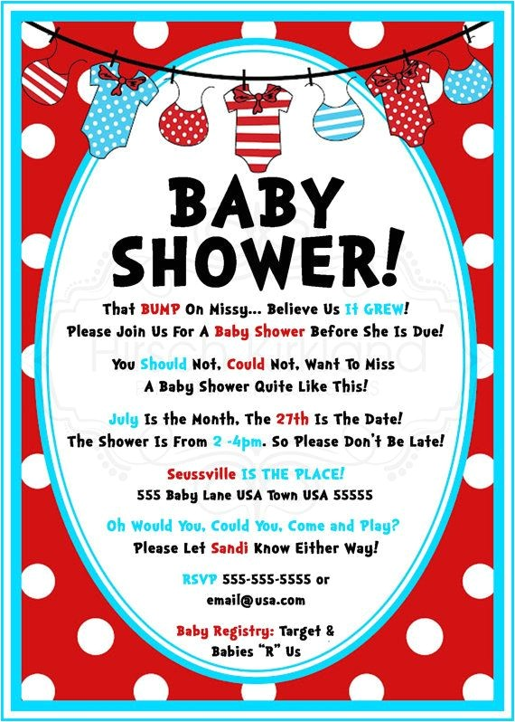 Dr Seuss Baby Shower Invitation Ideas so Cute Dr Seuss Baby Shower Invitation by