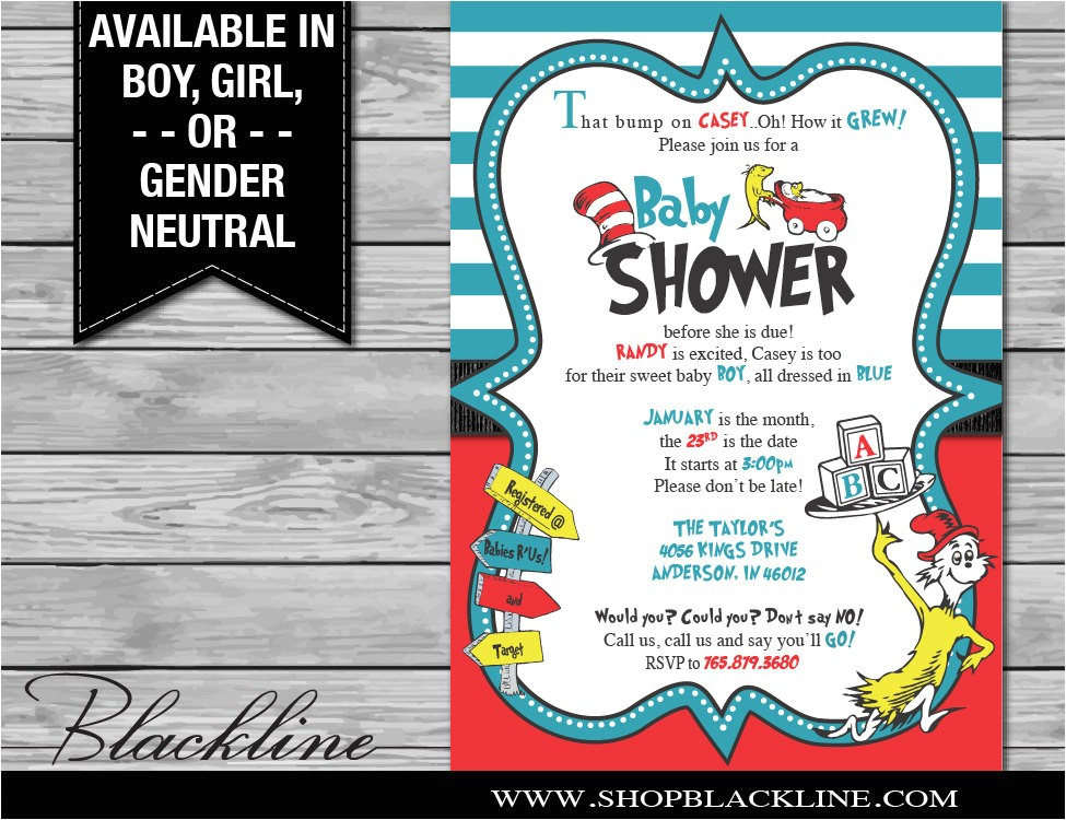 digital dr seuss baby shower invitations