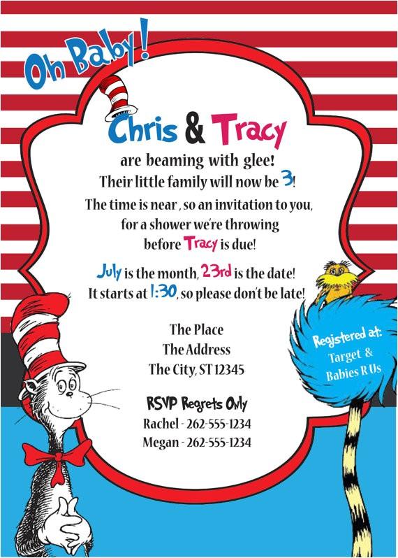 dr seuss baby shower invitation diy