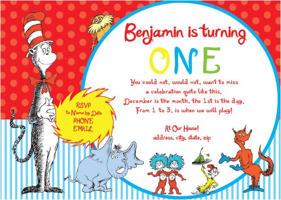 dr seuss first birthday party invitation
