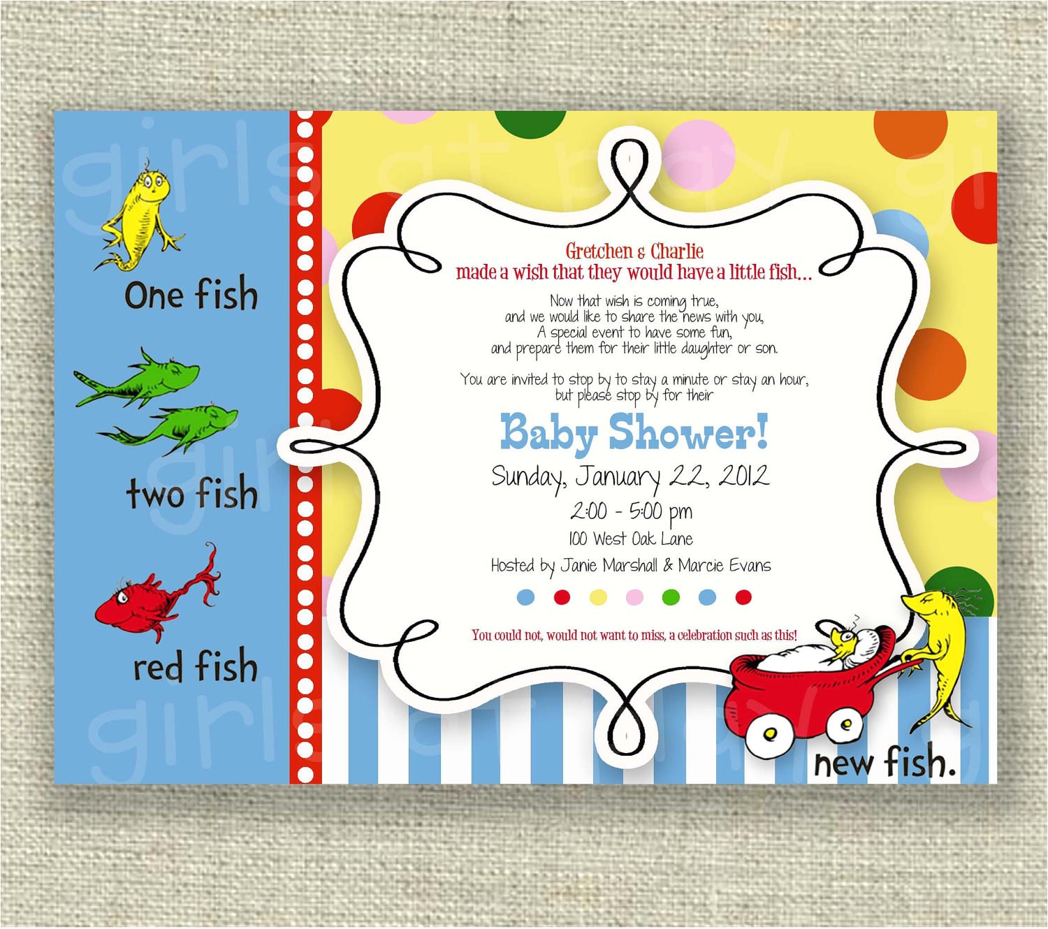 dr seuss baby shower invitation one fish