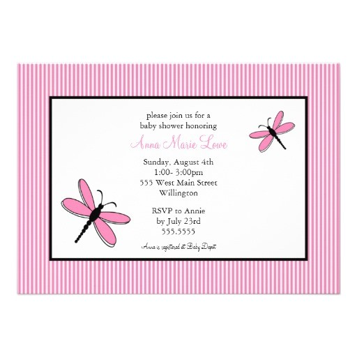 dragonfly baby shower invitations in pink black