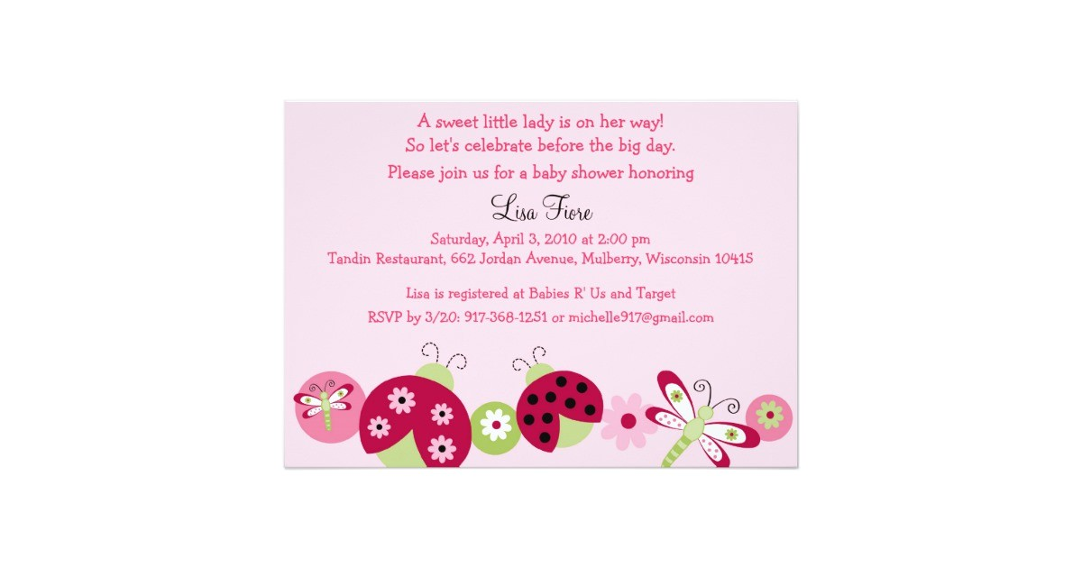 ladybug dragonfly baby shower invitations