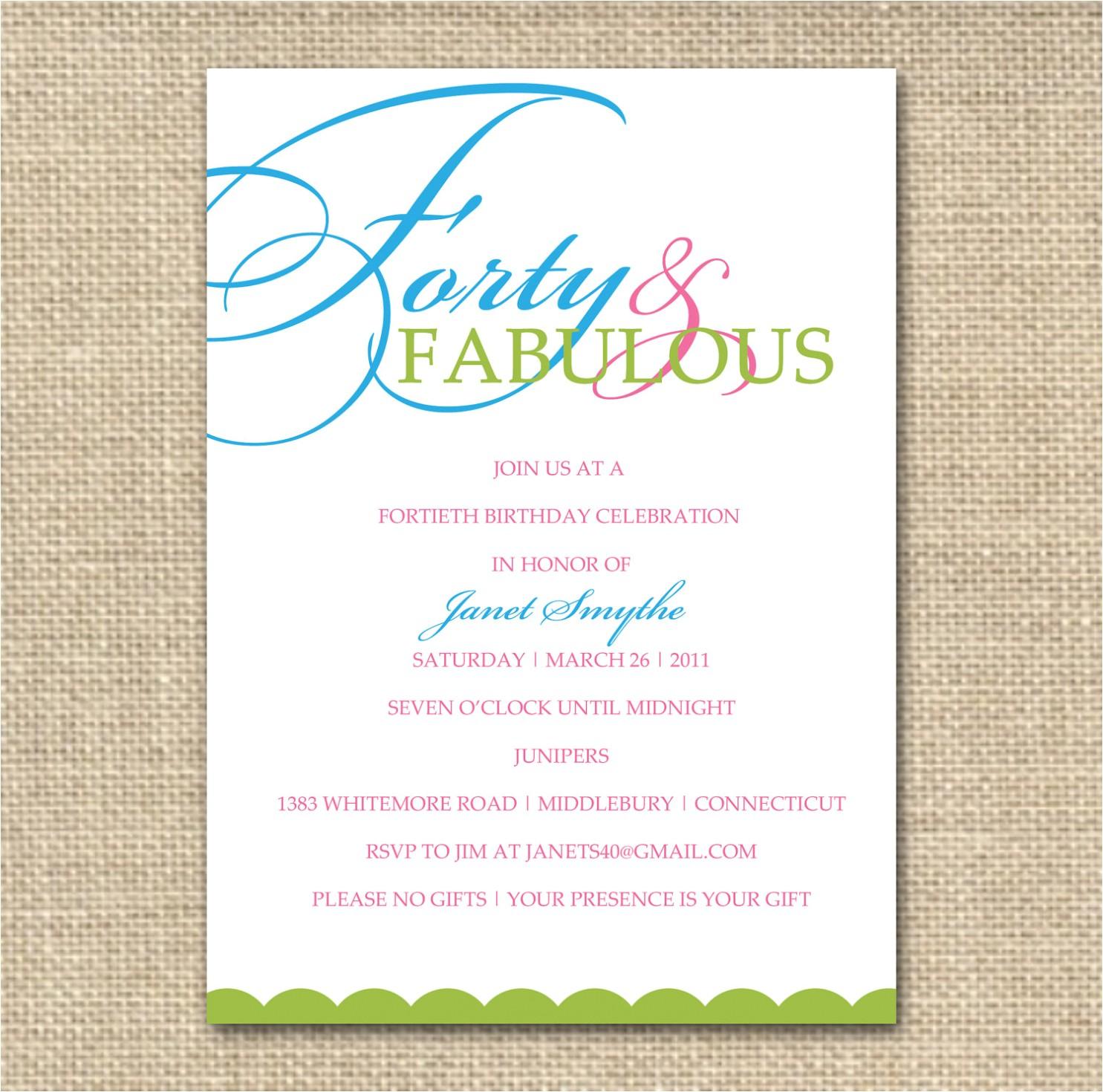 birthday invitation dress code wording