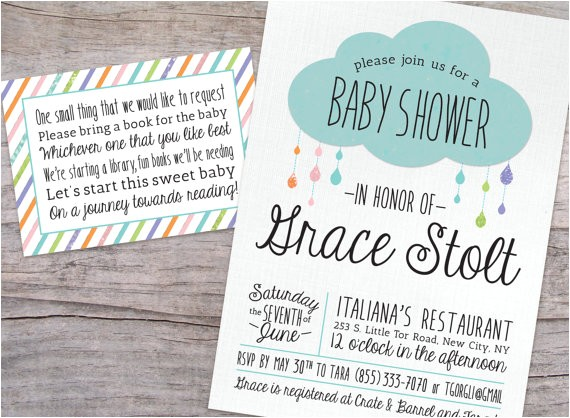 rain drop glitter baby shower invitation